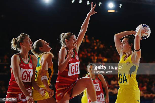 Natalie Medhurst of Australia shoots during the Preliminary Round Group B match between Australia and Wales at SECC Precinct during day one of the...