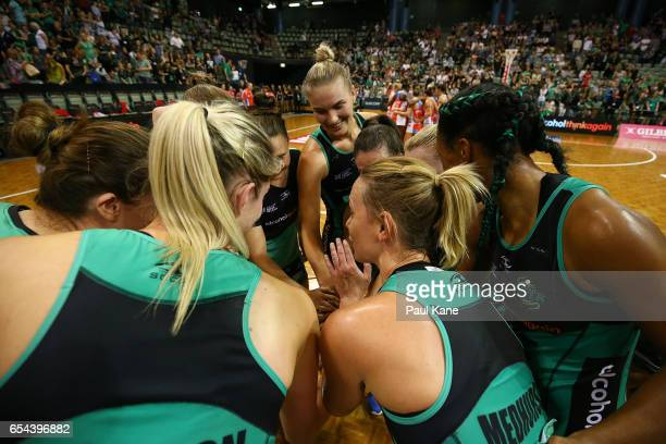 Natalie Medhurst of the Fever addresses the players in a huddle after winning the round five Super Netball match between the Fever and the Swifts at...