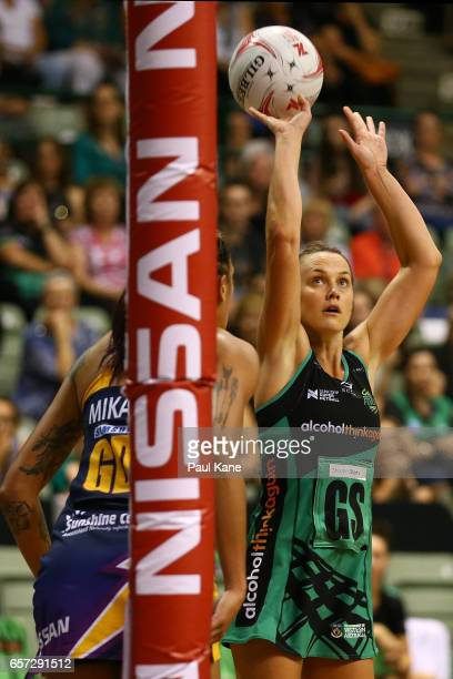 Natalie Medhurst of the Fever puts a shot up during the round six Super Netball match between the Fever and the Lightning at HBF Stadium on March 24...