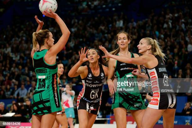 Natalie Medhurst of the Fever shoots during the round 13 Super Netball match between the Fever and the Magpies at Perth Arena on May 20 2017 in Perth...