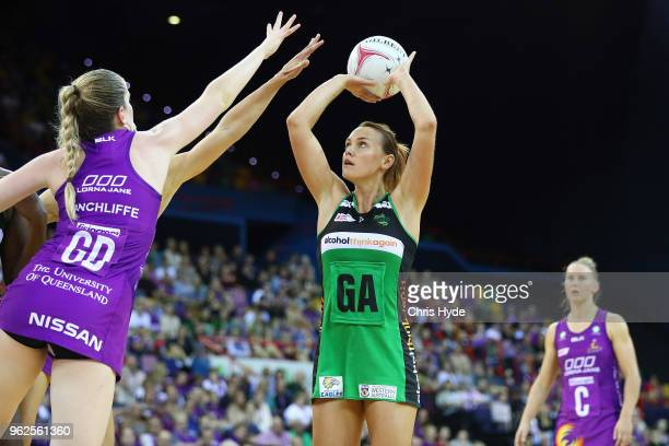 Natalie Medhurst of the Fever shoots during the round five Super Netball match between the Firebirds and the Fever at Brisbane Entertainment Centre...