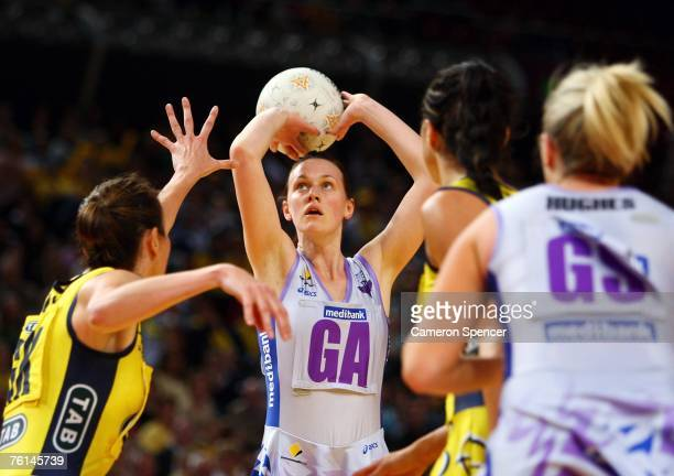Natalie Medhurst of the Thunderbirds shoots during the Commonwealth Bank Cup semifinal between the Sydney Swifts and the Adelaide Thunderbirds at...