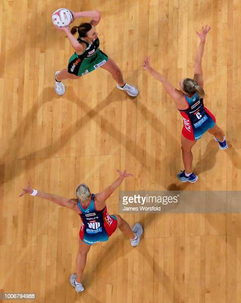 Natalie Medhurst of the West Coast Fever looks to pass during the round 13 Super Netball match between the Fever and the Vixens at Perth Arena on...