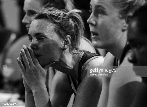 Natalie Medhurst of the West Coast Fever reacts after losing the grand final at the Super Netball Grand Final match between the the Fever and the...