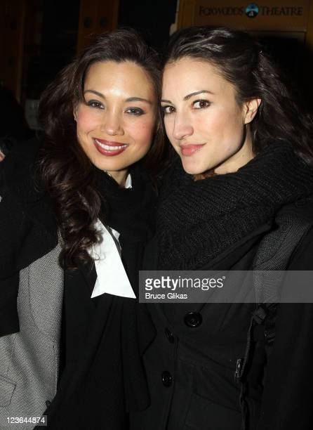 Natalie Mendoza and America Olivo pose backstage at the theater after the opening night preview of SpiderMan Turn Off the Dark at the Foxwoods...