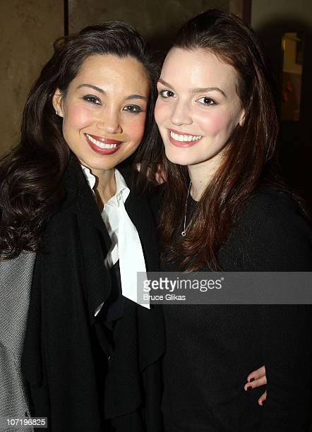 Natalie Mendoza and Jennifer Damiano pose backstage at the theater after the opening night preview of SpiderMan Turn Off the Dark at the Foxwoods...