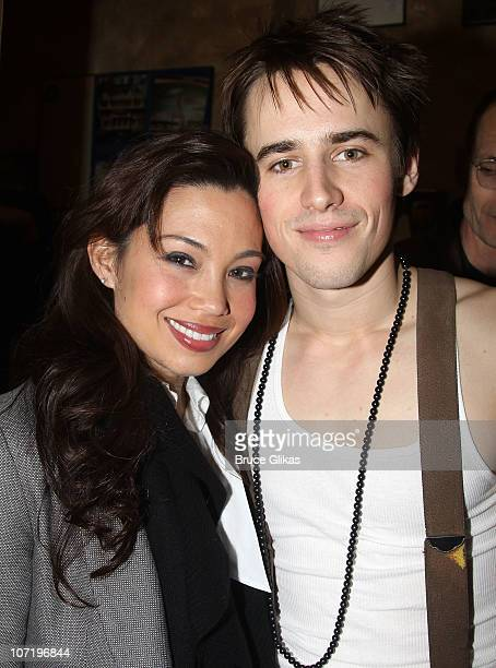 Natalie Mendoza and Reeve Carney pose backstage at the theater after the opening night preview of SpiderMan Turn Off the Dark at the Foxwoods Theater...