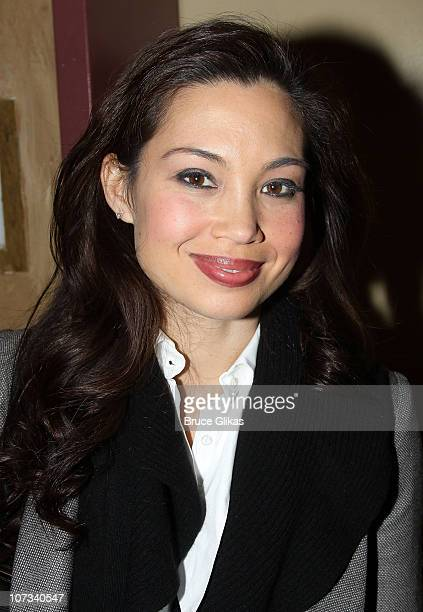 Natalie Mendoza poses backstage at the theater after the opening night preview of SpiderMan Turn Off the Dark at the Foxwoods Theater on November 28...