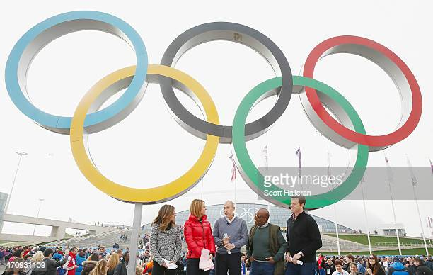 Natalie Morales Savannah Guthrie Matt Lauer Al Roker and Willie Geist of the NBC TODAY Show report from the Olympic Park during the Sochi 2014 Winter...