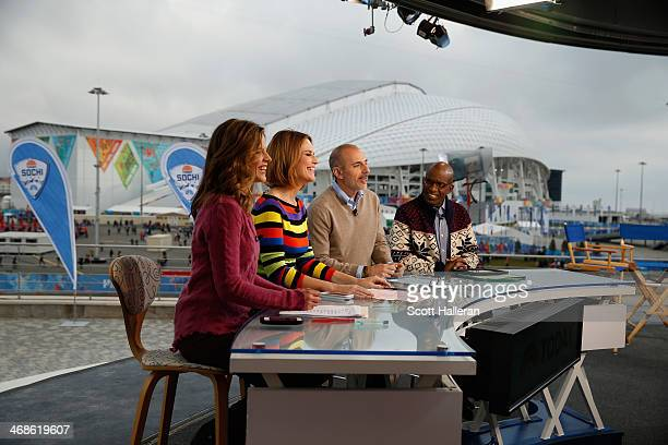 Natalie Morales Savannah Guthrie Matt Lauer and Al Roker wait on the set of the NBC TODAY Show in the Olympic Park during the Sochi 2014 Winter...