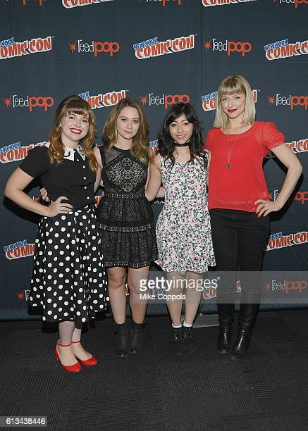 Natalie Palamides Amanda Leighton Kristen Li and Haley Mancini attend the Powerpuff Girls press room on October 8 2016 in New York City