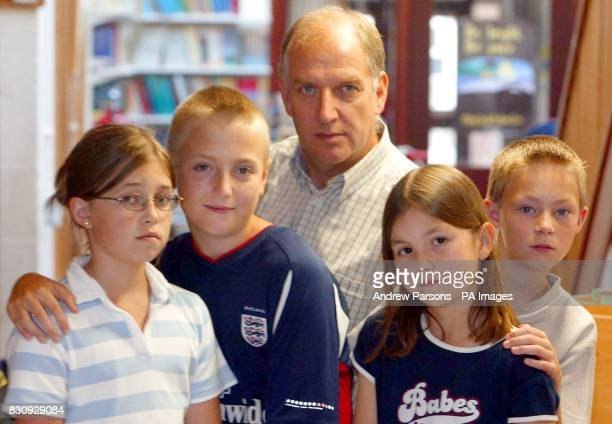 Natalie Parr Sean Flack Jennie White and Reece Jarvis with headteacher Geoff Fisher of St Andrew's School Soham as he talks to the press as the...