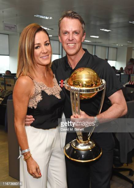 Natalie Pinkham and Graeme Swann representing Chance To Shine attend BGC Charity Day at One Churchill Place on September 11 2019 in London England