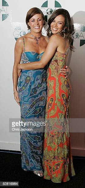 Natalie Pinkham and Liz Bonnin attend Champagne Reception ahead of/ watches / models at The Aura Of Asia charity fashion show in aid of GOAL's South...