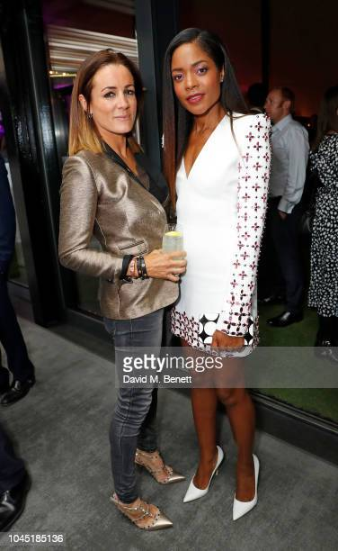 Natalie Pinkham and Naomie Harris attend the unveiling of new Guggi sculpture at Embassy Gardens hosted by Ballymore and Harper's Bazaar as part of...