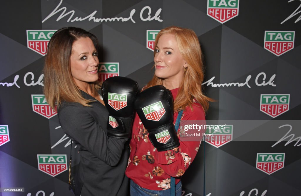 Natalie Pinkham (L) and Sarah-Jane Mee attend the launch of the TAG Heuer Muhammad Ali Limited Edition Timepieces at BXR Gym on October 10, 2017 in London, England.