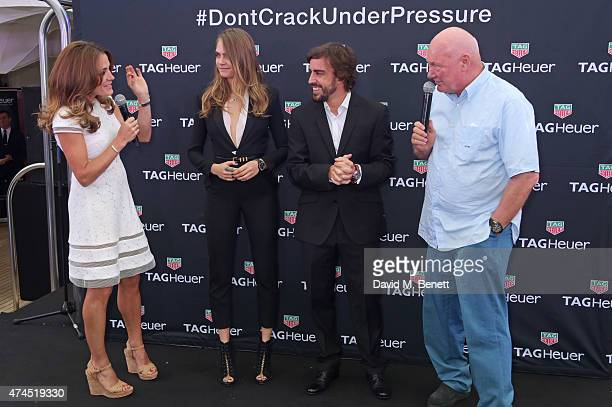 Natalie Pinkham brand ambassadors Cara Delevingne and Fernando Alonso and JeanClaude Biver CEO of TAG Heuer attend the TAG Heuer Monaco Party on May...