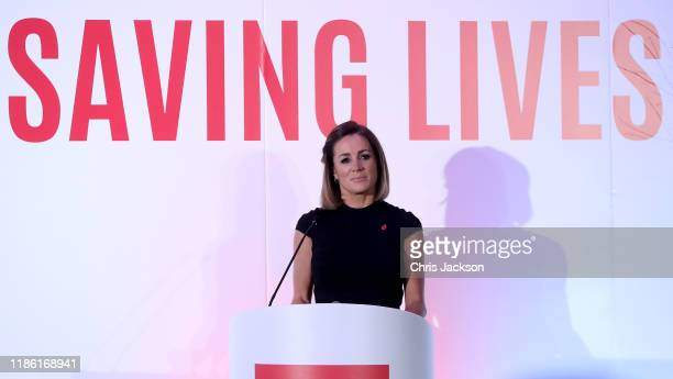 Natalie Pinkham makes a speech as she attends the London's Air Ambulance Charity gala at Rosewood London on November 07, 2019 in London, England....
