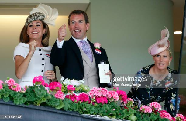Natalie Pinkham, Peter Phillips and Zara Tindall watch the Gold Cup as they attend day 3 of Royal Ascot at Ascot Racecourse on June 17, 2021 in...