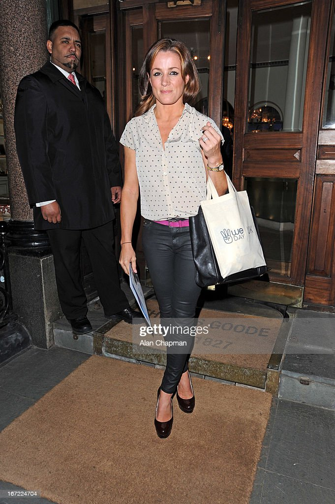 Natalie Pinkham sighting leaving the We Day Movement event at Thomas Goode & Co South Audley Street Mayfair Goode on April 22, 2013 in London, England.