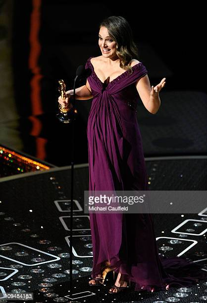 Natalie Portman accepts an award onstage during the 83rd Annual Academy Awards held at the Kodak Theatre on February 27 2011 in Hollywood California