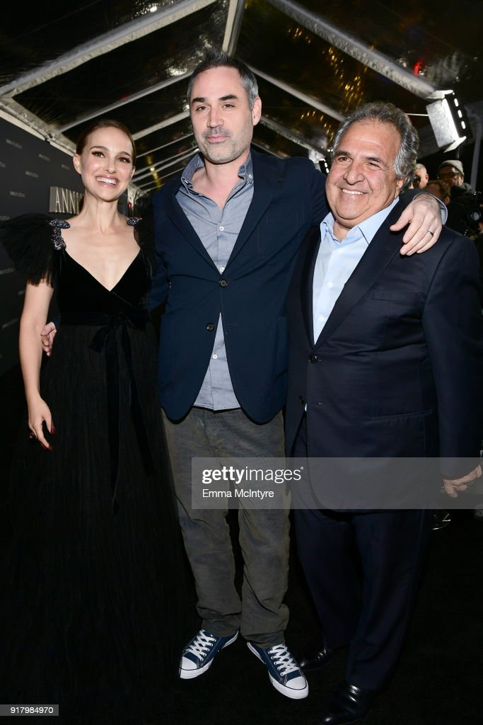 Natalie Portman, Alex Garland, and Chairman/CEO of Paramount Pictures, Jim Gianopulos, attend the premiere of Paramount Pictures' 'Annihilation' at Regency Village Theatre on February 13, 2018 in Westwood, California.