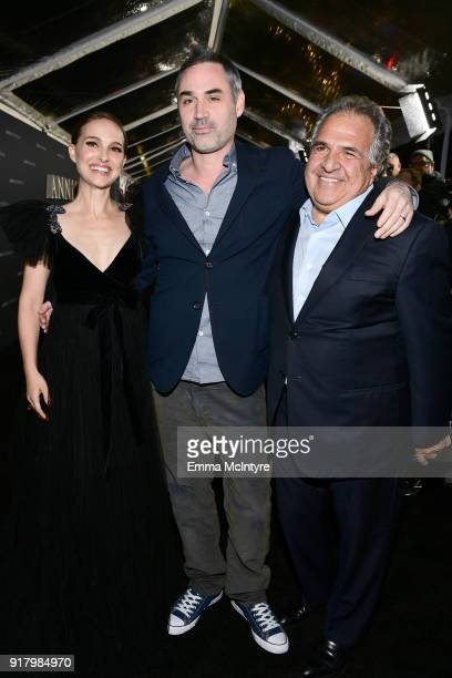 Natalie Portman Alex Garland and Chairman/CEO of Paramount Pictures Jim Gianopulos attend the premiere of Paramount Pictures' 'Annihilation' at...