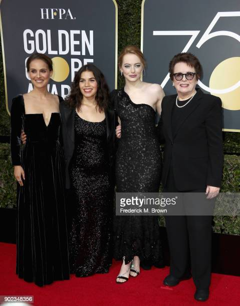 Natalie Portman America Ferrera Emma Stone and Billie Jean King attend The 75th Annual Golden Globe Awards at The Beverly Hilton Hotel on January 7...