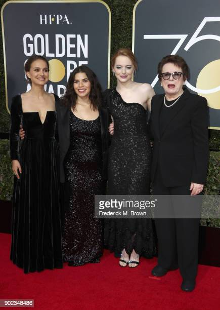 Natalie Portman, America Ferrera, Emma Stone and Billie Jean King attend The 75th Annual Golden Globe Awards at The Beverly Hilton Hotel on January...