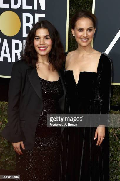 Natalie Portman and America Ferrera attend The 75th Annual Golden Globe Awards at The Beverly Hilton Hotel on January 7 2018 in Beverly Hills...