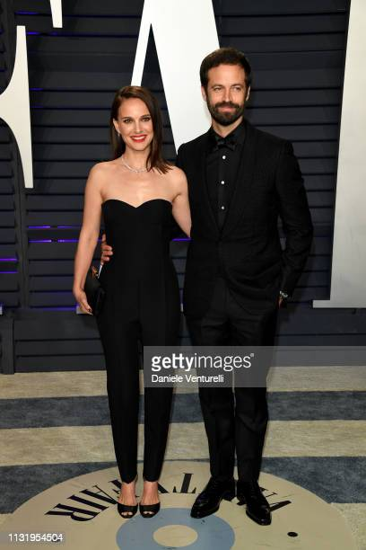 Natalie Portman and Benjamin Millepied attend 2019 Vanity Fair Oscar Party Hosted By Radhika Jones at Wallis Annenberg Center for the Performing Arts...