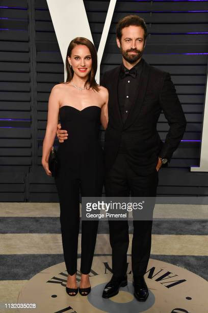 Natalie Portman and Benjamin Millepied attend the 2019 Vanity Fair Oscar Party hosted by Radhika Jones at Wallis Annenberg Center for the Performing...