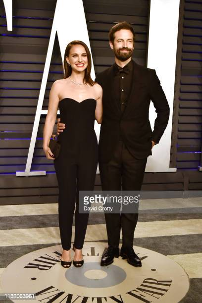 Natalie Portman and Benjamin Millepied attend the 2019 Vanity Fair Oscar Party at Wallis Annenberg Center for the Performing Arts on February 24 2019...