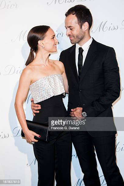 Natalie Portman and Benjamin Millepied attend the 'Esprit Dior Miss Dior' Exhibition Opening at Grand Palais on November 12 2013 in Paris France