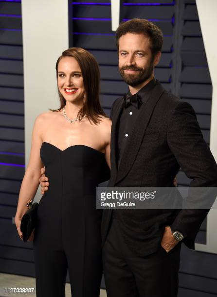 Natalie Portman and Benjamin Millepied attends the 2019 Vanity Fair Oscar Party hosted by Radhika Jones at Wallis Annenberg Center for the Performing...