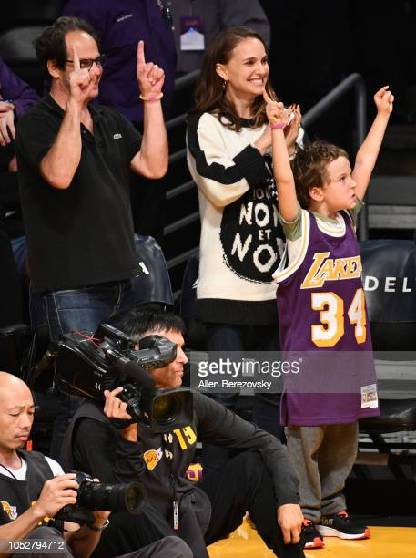 Natalie Portman and her son Aleph PortmanMillepied attend a basketball game between the Los Angeles Lakers and the San Antonio Spurs at Staples...