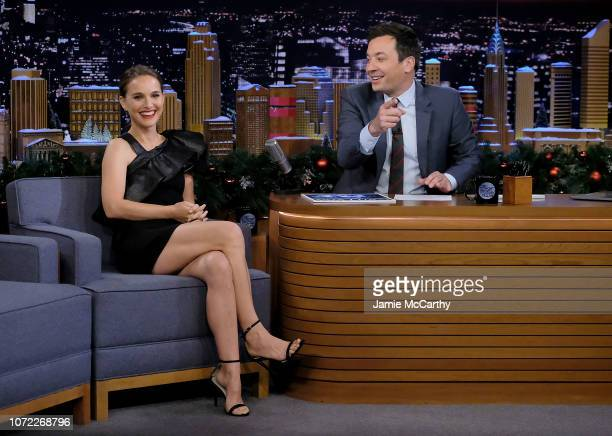"""Natalie Portman and host Jimmy Fallon during a segment on """"The Tonight Show Starring Jimmy Fallon"""" on December 12, 2018 in New York City."""