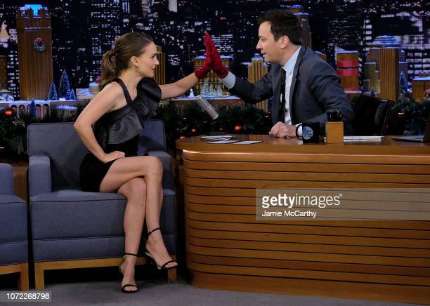 Natalie Portman and host Jimmy Fallon during a segment on The Tonight Show Starring Jimmy Fallon on December 12 2018 in New York City