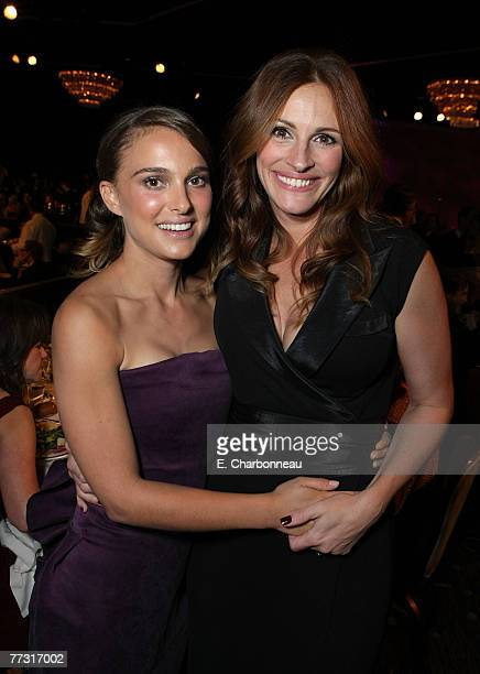 Natalie Portman and Julia Roberts at The 22nd Annual American Cinematheque Award at the Beverly Hilton Hotel on October 12 2007 in Beverly Hills...
