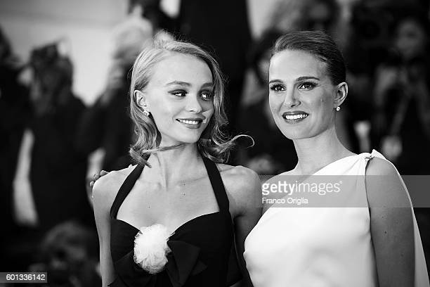 Natalie Portman and Lily Rose Depp attends the premiere of 'Planetarium' during the 73rd Venice Film Festival at Sala Darsena on September 8 2016 in...