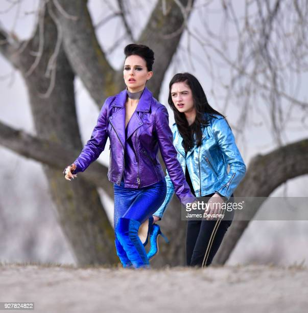Natalie Portman and Raffey Cassidy seen on location for Vox Lux at Plumb Beach in Brooklyn on March 5 2018 in New York City