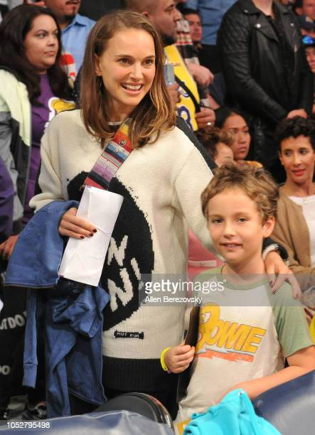 Natalie Portman and son Aleph PortmanMillepied attend a basketball game between the Los Angeles Lakers and the San Antonio Spurs at Staples Center on...