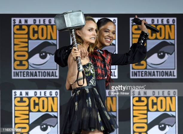 Natalie Portman and Tessa Thompson speak at the Marvel Studios Panel during 2019 Comic-Con International at San Diego Convention Center on July 20,...