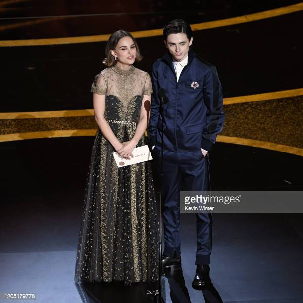 Natalie Portman and Timothée Chalamet speak onstage during the 92nd Annual Academy Awards at Dolby Theatre on February 09, 2020 in Hollywood,...