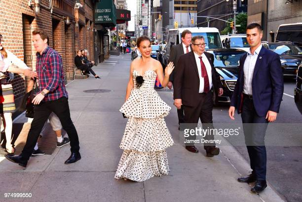 Natalie Portman arrives to 'The Late Show With Stephen Colbert' at the Ed Sullivan Theater on June 14 2018 in New York City