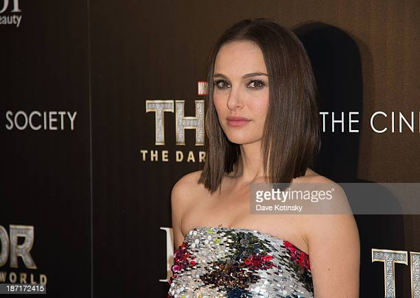 Natalie Portman attends a screening of Thor The Dark World hosted by The Cinema Society And Dior Beauty at 79 Crosby Street on November 6 2013 in New...