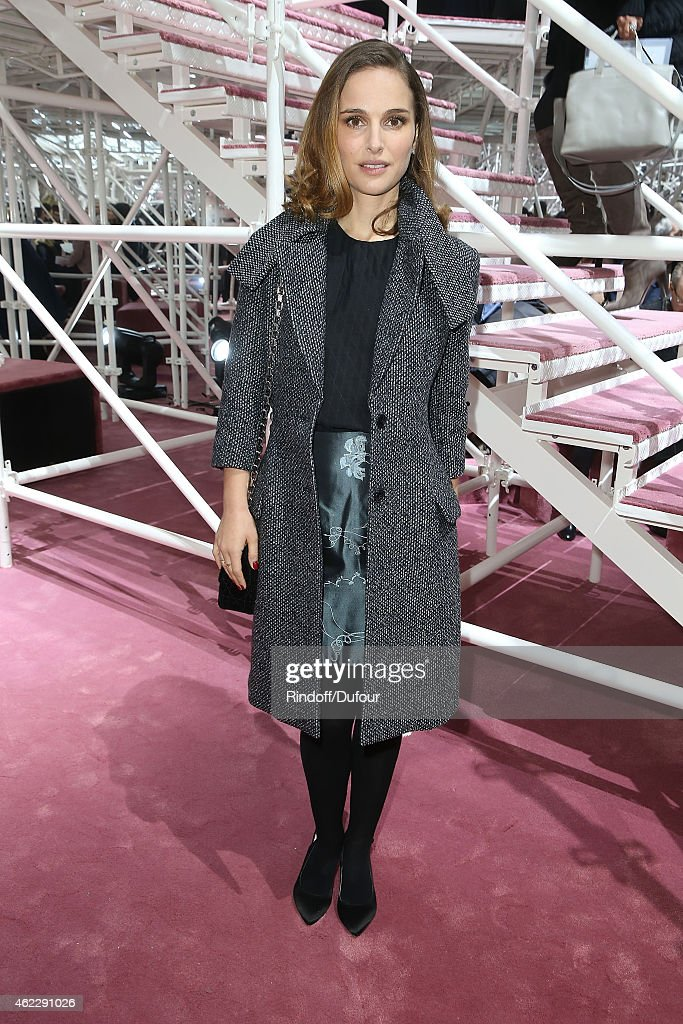 Natalie Portman attends the Christian Dior show as part of Paris Fashion Week Haute Couture Spring/Summer 2015 on January 26, 2015 in Paris, France.