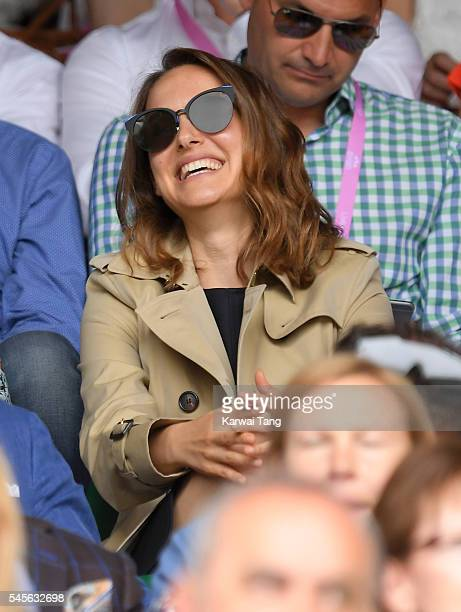 Natalie Portman attends the women's final of the Wimbledon Tennis Championships between Serena Williams and Angelique Kerber at Wimbledon on July 09...