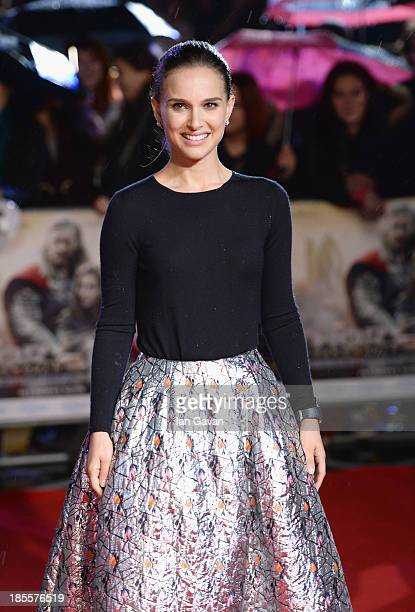Natalie Portman attends the World Premiere of 'Thor The Dark World' at Odeon Leicester Square on October 22 2013 in London England