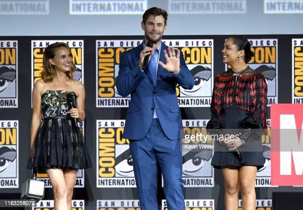 Natalie Portman, Chris Hemsworth and Tessa Thompson speak at the Marvel Studios Panel during 2019 Comic-Con International at San Diego Convention...